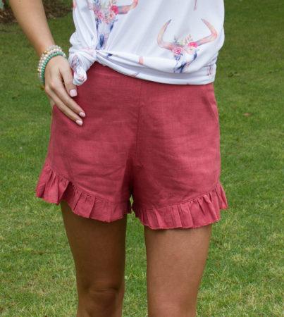Ruffled Rust Shorts