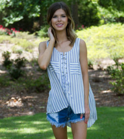 Laced Up In Stripes Top Blue