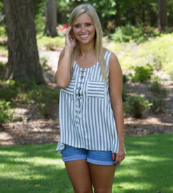 Laced Up In Stripes Top Grey