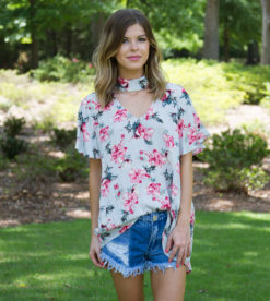 Summer Blooms Top Grey 1