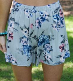 Malibu Floral Shorts Grey