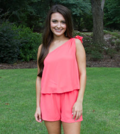 Look This Way Romper Bright Coral 1