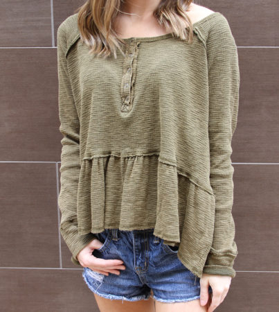 Thermal Peplum Olive
