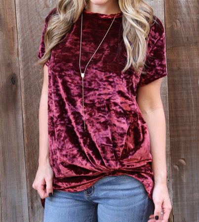 Velvet Knot Top Burgundy 2