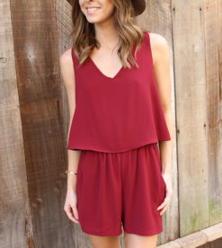 Wine Flutter Back Romper