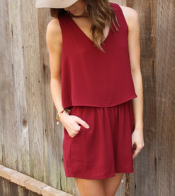 Wine Flutter Back Romper 2