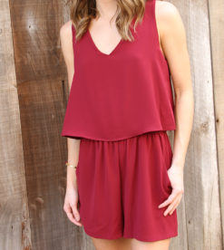 Wine Flutter Back Romper 3