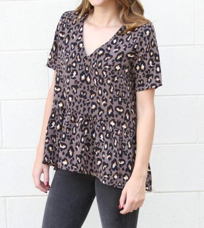 Leopard Pep Top