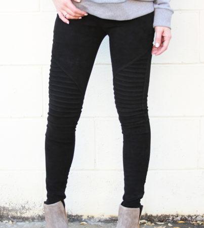 Suede Leggings Black