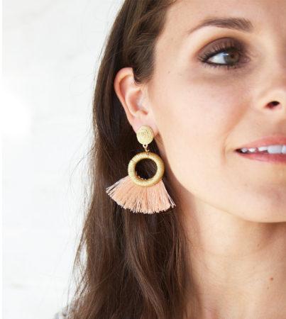 Nyla Fringe Earring Peach