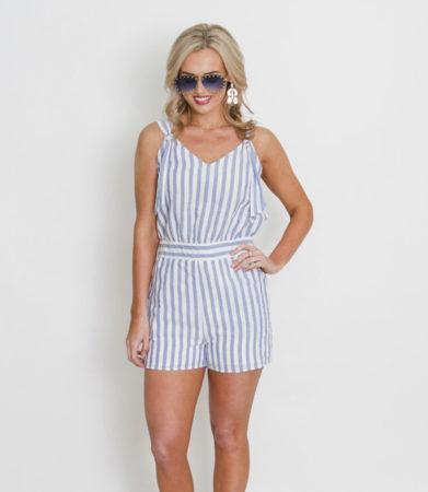 Blue& White Stripe Romper