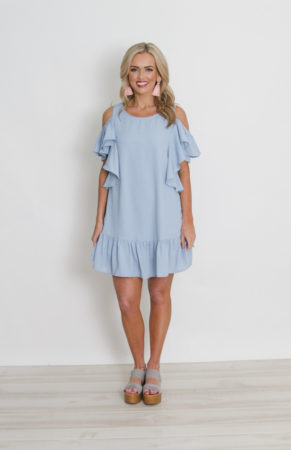 Light Blue Cold Shoulder Dress