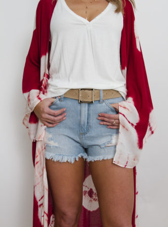 Light Denim Distressed Short