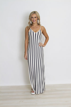 Navy and White Stripe Maxi