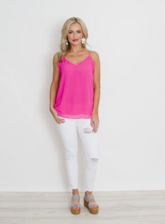 Neon Pink Top with Ruffle