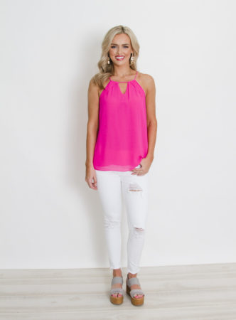 Neon Pink top with Key Hole