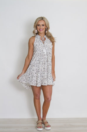 Printed White Dress with Pep bottom