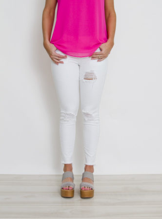 White Distress Skinny Jean