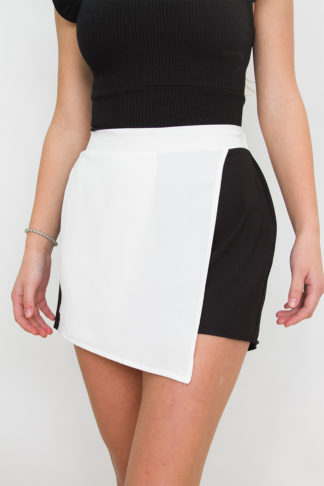 34ce736c63ed Black and White Block Wrap Skort