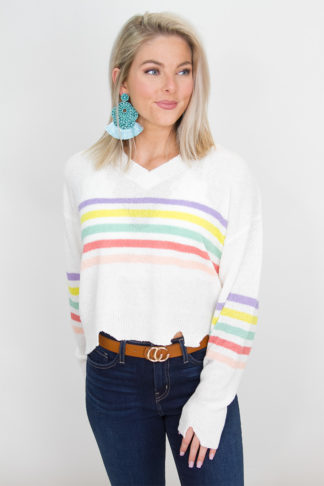 bc3067acf86c Ivory Sweater with Multicolor Stripes and Raw Hem