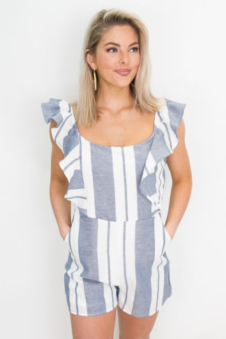 d7e8b38ffad9 Denim and White Stripe Romper